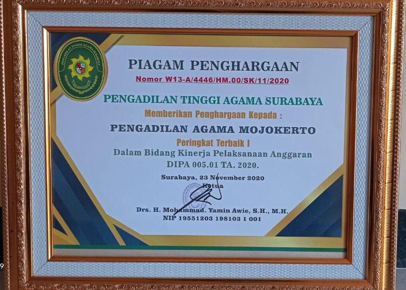 Peringkat 1 Kinerja Anggaran DIPA 01 2020 PTA Surabaya