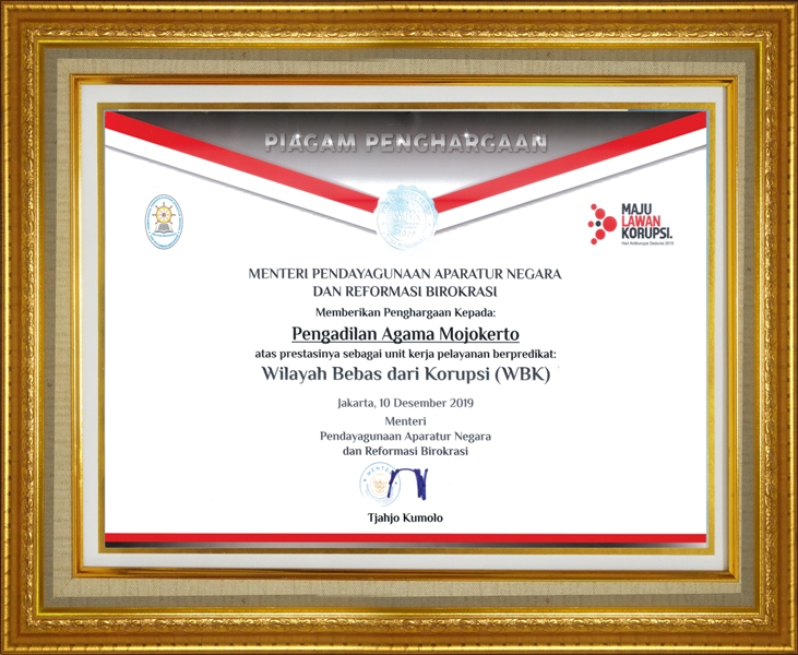 Piagam Penghargaan Wilayah Bebas dari Korupsi (WBK)