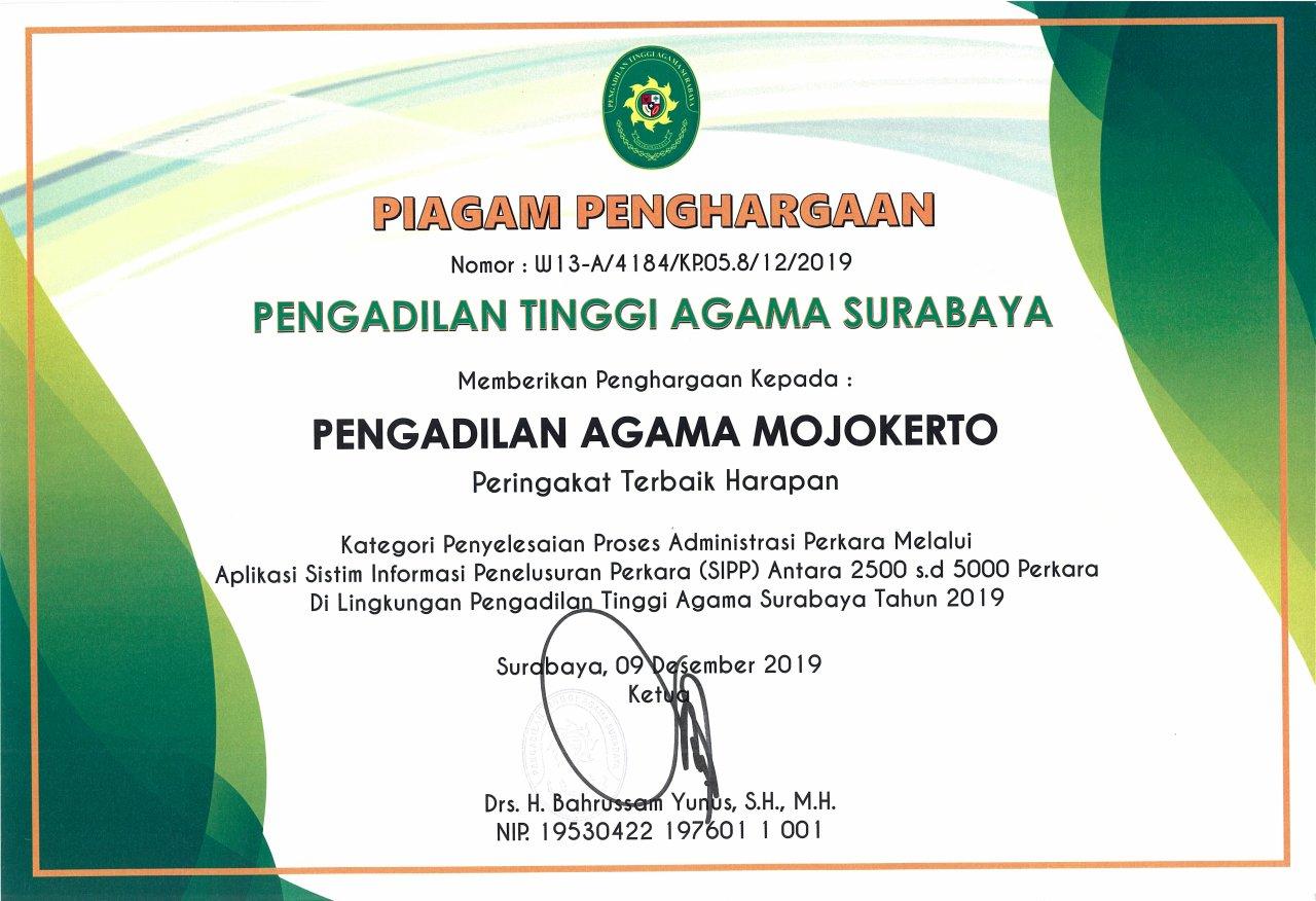 SIPP Terbaik Harapan 2019 PTA Surabaya Se-Jawa Timur