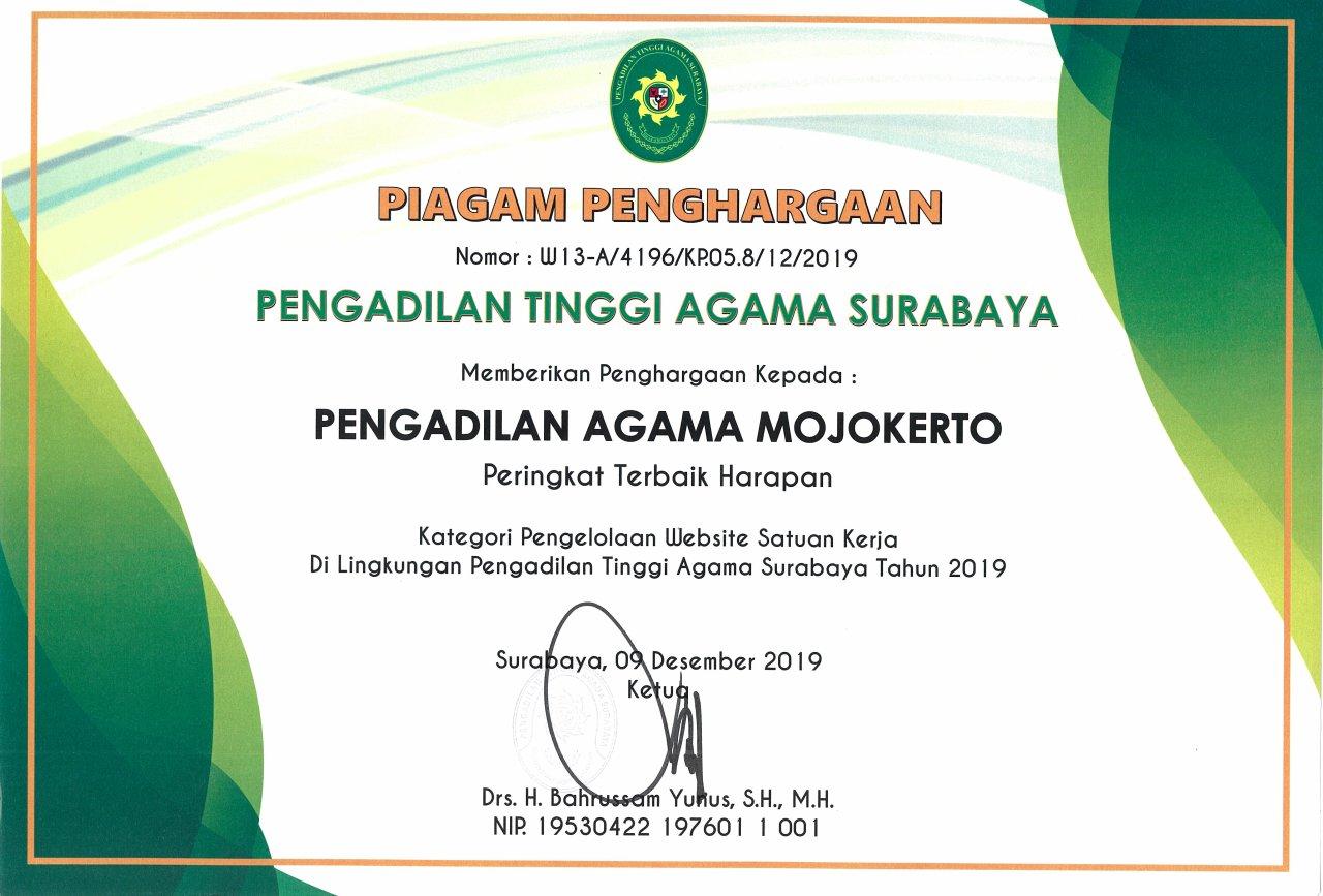 Web Terbaik Harapan TA 2019 PTA Surabaya Se-Jawa Timur